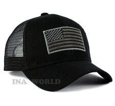 USA American Flag hat Mesh ARMY Tactical Operator Snapback Baseball cap- Black