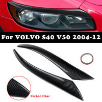Carbon Fiber Headlight Eyebrows Eyelids Trims Cover For Vlovo S40 V50
