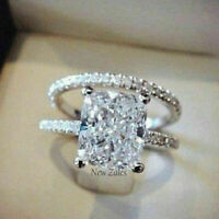 Certified 2 Ct. Princess Cut Diamond  Engagement Ring Solid 14K White Gold