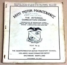ARMY MOTOR MAINTENANCE THE INTERNAL COMBUSTION ENGINE TEXT NO.2 SEPTEMBER 1940