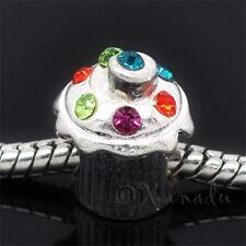 Cupcake European Charm Bead With Rhinestone Sprinkles - Birthday Gift For Her