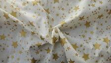 Christmas Fabric Cream with Gold Stars - 1 Metre