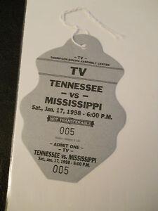 1988 Tennessee vs. Mississippi Basketball Media Pass Ticket Stub (SKU2)