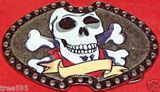 Calavera & Cruzado x HUESO Hombre Mujer Metal Tachuela Hebilla De Cinturón bien