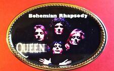 """QUEEN """" BOHEMIAN RHAPSODY"""" Rock Group Epoxy PHOTO MUSIC BELT BUCKLE   - NEW!"""