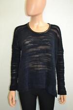 Yigal Azrouel Navy Blue Mohair Wool/Black Leather Trim LS Sweater, Sz M