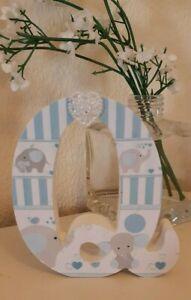 ❤ Wooden Initial CAPITAL LETTER Q freestanding white blue heart nursery. MDF❤