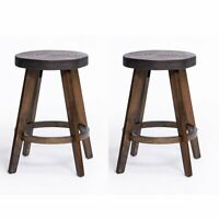 """2 PCS 24"""" Height Bar Stools Solid Wood Bistro Dining Kitchen Pub Chair Walnut"""