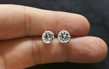 6Ct 14K White Gold Studs Lab Created Diamond Earrings Brilliant Solitaire