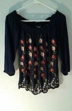 Lucky Brand NEW blue top S VISCOSE floral embroidery peasant 3/4 sleeves NWT $69