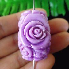 1Pcs Beautiful Nice Purple Tridacna Carved Flower Pendant Bead 30*20mm HH295