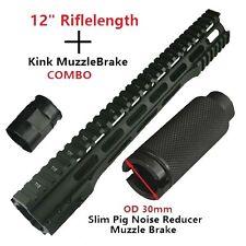 "12"" Slim Free Float Quad Rail For 223 +2 PC Krink Muzzle Brake Combo,US Seller"