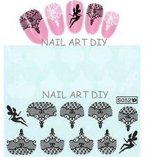 20 Adesivi con Pizzo Nero e Bianco e FATA -Nail Art Stickers water transfer!