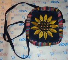 "Fabric floral embroidery shoulder hand bag purse 21"" drop strap zip close"