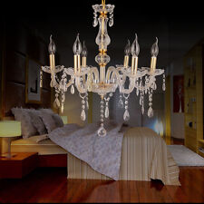 6 feux Lustre en cristal transparent plafonnier lampe lumière design élégant