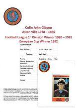 Colin Gibson ASTON VILLA 1978-1986 mano originale firmato FIGURINA PANINI ADESIVO