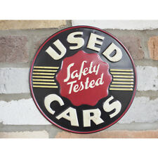 "RETRO VINTAGE STYLE ROUND METAL SIGN ""USED CARS SAFETY TESTED"" SIGN"