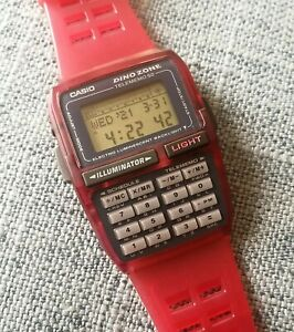 new casio dbc-63 dino zone red color databank telememo 50 alarm chrono watch