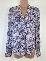 NEXT ivory white floral print silky satin blouse top size 6 euro 34