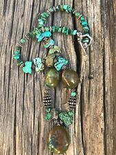 """Chinese Hubei Turquoise 25mm Beads 30mm Pendant Sterling Necklace 18.5"""" 86 Grams"""