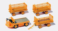 Preiser 17120 Gauge H0 Figurines, Electric cart mit 3 Trailers # in ##