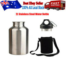 2L Silver Stainless Steel Large Mouth Water Drink Bottle Kettle Cycling Sports !