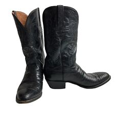 Luccheese Classic Cowboy with Lizard Boots Sz 9.5 Black Goat Shaft