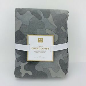 Pottery Barn Teen Camo Camouflage Twin Duvet Grey Gray Cotton New!