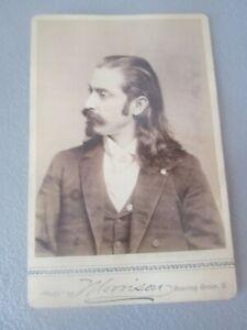 Antique  CABINET PHOTO  -  MAN w/ LONG HAIR -  FAMOUS ???     #31