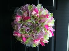 Spring Bright Wreath Deco Mesh Floral Ribbbons