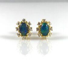 Gold Opal Stud Earrings Genuine Australian Oval 6x4mm Opals, 925 Sterling Silver