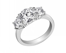 18K White Gold GB 1.0 ct Simulated Diamond Three Stone Sz 8 Engagement Ring S82