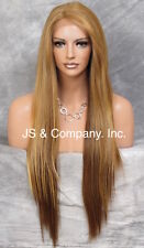 "Extra Long Bone Straight Blonde mix Lace Front Wig ""L"" side part IY DX3147"