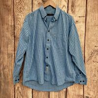 Authentic Heavy Construction Mens Checked Shirt Size Large Blue Long Sleeve VGC