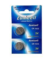 2 x CR1632 ( 3V 120 mAh ) Lithium Batterie (1 Blistercard a 2 Batterien)Eunicell