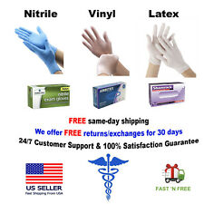 GLOVES NITRILE 10-20-50 -100 - 1000 VINYL + LATEX POWDER FREE {S-M-L-XL} EXAM