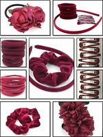 40x SCHOOL BURGUNDY HAIR ACCESSORY SET GIRLS SCHOOL BOBBLES HEADBAND CLIP SCHOOL