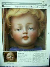 Seeley's Dollmaker'S Worksheet - Stephen/Stephanie & Amanda by Jdk - German Doll
