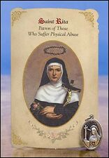 St Rita (Physical Abuse) Healing Holy Card with Medal NEW SKU MC045