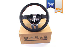 NEW EURO VW OEM Mk6 Jetta Black Leather Red Multi Function Steering Wheel