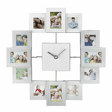 VonHaus Family Photo Frame Clock Silver Aluminum Multi Picture Aperture Gift