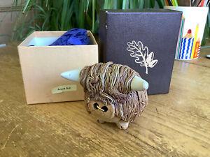Boxed Studio Pottery Small Angus Bull