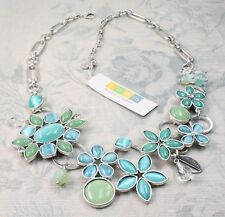 BOHM Flower Necklace Glass & Swarovski Silver Aqua Blue Turquoise Opal BNWT