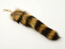 """One Raccoon Tail 10-11"""" securely attached keychain, tanned, coon, fur cntl10-11"""""""