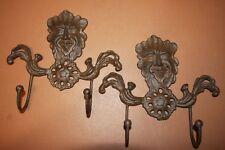 (2) Gargoyle Wall Hooks Cast Iron 9 inches, Forest Leaf Man, Set of 2, H-94