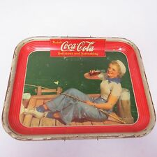 "VINTAGE Coke Metal Tray 1940 ""DRINK COCA-COLA"" SAILOR  GIRL Picture ServingTRAY"