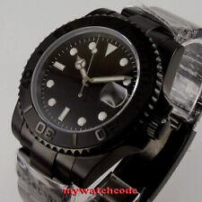 Bliger 40mm dial negro PVD había bisel de cerámica 24 joyas NH35 Reloj Para hombres Automático