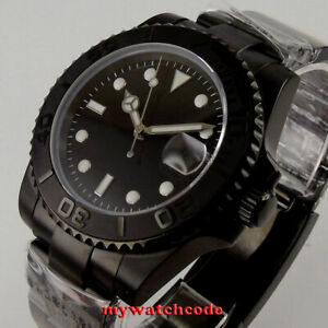 40mm bliger black dial PVD ceramic bezel 24 jewels NH35 Automatic mens Watch