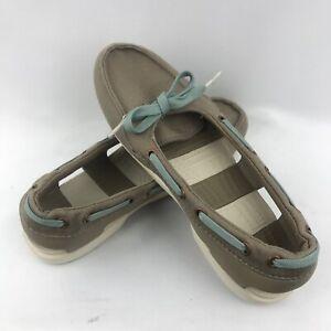 Crocs Womens Beach Line Hybrid Lace Up Boat Shoes 200109 Tan Size 6
