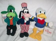 Disney Store GOOFY EURO DONALD Lot Mini BEAN BAG PLUSH GOOFENSTEIN Uncle Sam
